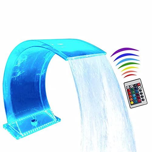 Fuente de Piscina de Cascada iluminada Fuente de Piscina LED 7 Colores Aliviadero de Cambio Remoto para Descenso Transparente Estanque de natación de acrílico Cascada Hoja Cascada 12 # / H400xW200