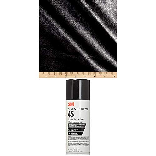 Plastex Fabrics Faux Leather Buffalo Black Fabric by The Yard Bundle with 3M General Purpose 45 Spray Adhesive, 10-1/4-Ounce, White