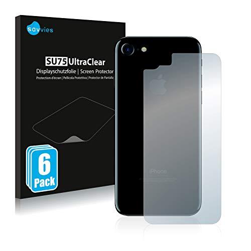 Savvies 6X Schutzfolie kompatibel mit Apple iPhone 7/8 / SE 2 2020 Rückseite (gesamte Fläche) Displayschutz-Folie Ultra-transparent