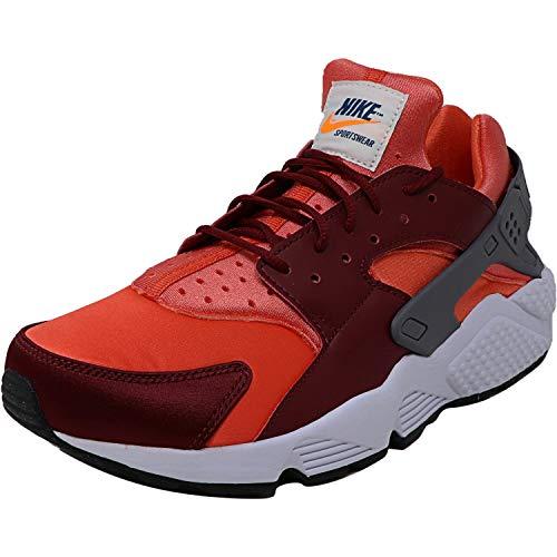 Nike Men's Air Huarache Gunsmoke/Team Red Rush Coral Ankle-High Sneaker - 9.5M