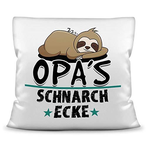 Kuschel-Kissen inkl. Füllung mit Spruch für Opa - Opas Schnarch-Ecke - Geschenk-Idee Geburtstag Vatertag / Bestes Vatertagsgeschenk - Kissen Weiß