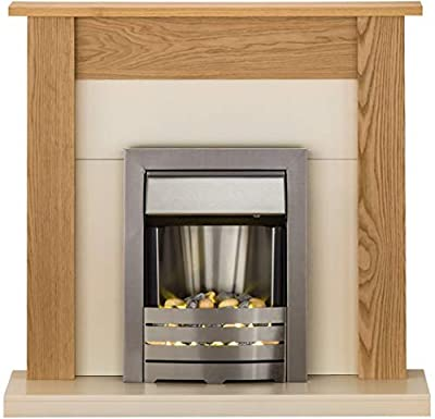 Adam Southwold Fireplace Suite in Oak with Helios Brushed Steel Electric Fire, 43 Inch