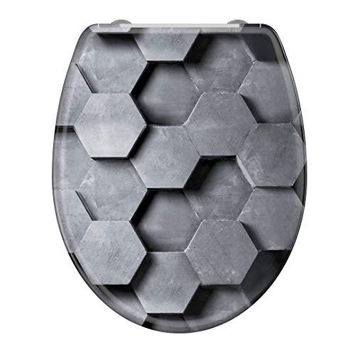 instmaier WC-Sitz WC6 // Duroplast Klodeckel mit Absenkautomatik // Schnelle Reinigung durch Schnellverschluss // Toilettendeckel // Einfache Montage // Motiv Hexagon