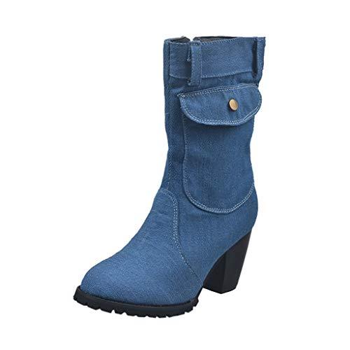 Damenstiefel Mit Hohen AbsäTzen, Frauen Stiefel High Heel Denim Mid-Tube Stiefel Mode Casual Boots Square Heels Stiefel LäSsige Retro ReißVerschluss Schuhe