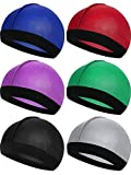 6 Pieces Kids Silky Satin Wave Caps Unisex Baby Beanie Caps 360 Wave Wide Strap Skull Caps (Blue, Red, Purple, Green, Black, Silver)