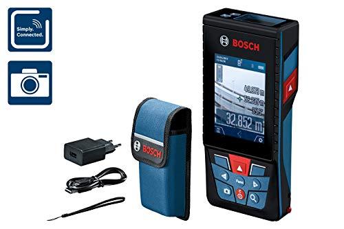 Bosch Professional Distanziometro laser GLM 120 C (fotocamera, trasferimento dati Bluetooth, misurazione: 0,08 – 120 m; con cinturino di trasporto, cavo micro-USB, caricabatteria, custodia protettiva)