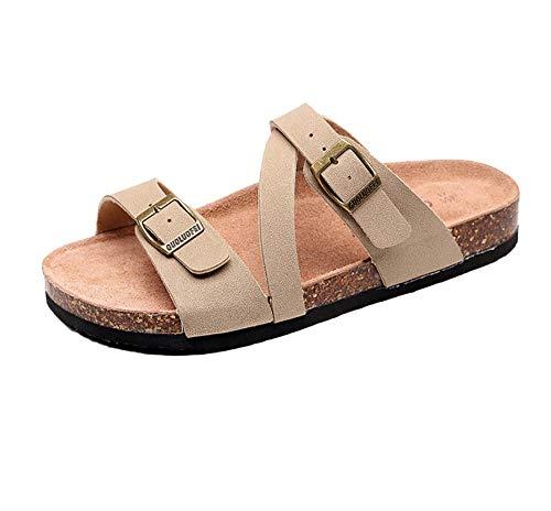 Ling Fengfeiyang Unisex Playa Piscina Chanclas,Piscina Playa Interior Chanclas,Sandalias de Corcho para Exteriores, Zapatos de Playa de Gran tamaño con una Sola Solapa-Beige_46