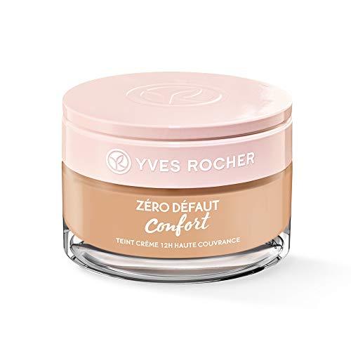 Yves Rocher COULEURS NATURE Creme-Make-up 12h hohe Deckkraft Rosé 200, reichhaltige Foundation, 1 x Glas-Tiegel 40 ml