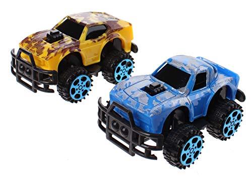 JONOTOYS Monster trucks Dino-Print 6 cm 2 unidades azul / amarillo