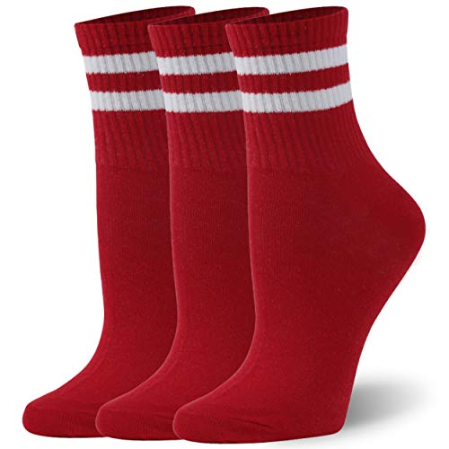 Fun Ankle Socks for Women, WXXM Soft Seamless Performance Socks Cycling Socks Men White Red with White Stripes 3 Pairs Size X-Large College Stuff for Women