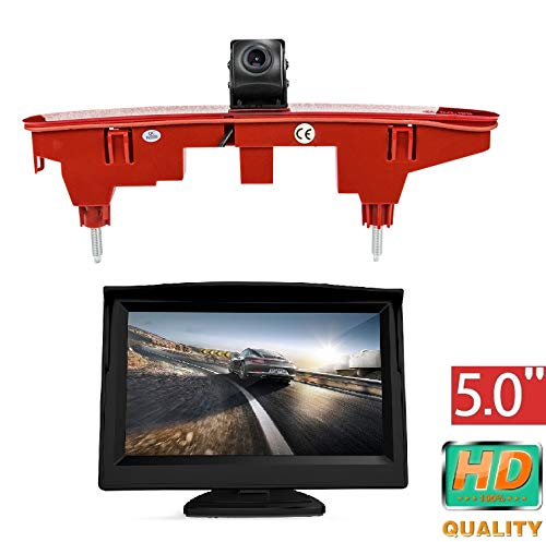 "HD 720p Dachkante Einparkhilfe Rückfahrkamera integriert in 3. Bremsleuchte Kamera für Peugeot Partner Citroen Berlingo Partner II 08-16 + 5.0\"" Zoll DVD Monitor TFT Bildschirm LKW KFZ LCD Display"