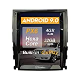 Flyunice 10.4 Inch Android 9.0 IPS Screen Tesla Style 4GB RAM 32GB ROM Car Stereo Radio GPS Navigation for Cadillac Escalade 2007-2014 Head Unit Bluetooth Multimedia Player WiFi