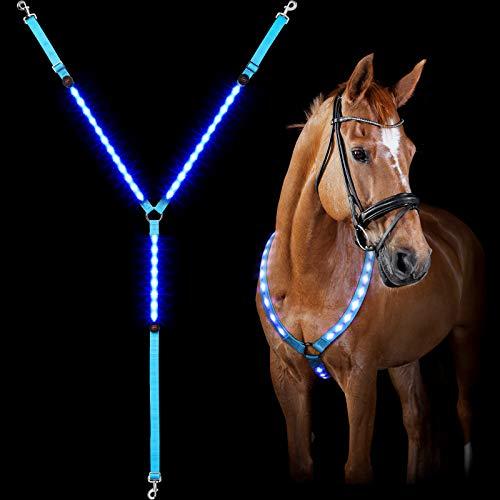 LED Licht Pferd Brustplatte Halsband Verstellbare Sichtweite Tack Pferdesport Sicherheit Ausrüstung mit 3 D-Ring 3 Beleuchtung Modi für Nacht Pferd Zurück Reiten Pferd Show (1 Stück, Blau)