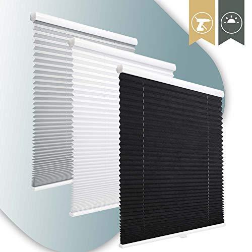 KINLO120*130 schwarz Plissee verspannt Easyfix klemmträger seillos Faltrollo lichtundurchlässig ohne Bohren Rollos klemmfix verdunkelung springrollo für Fenster