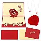 HOWAF Red Heart Pendant Necklace for Women, Girls, and Rose Box, 3D Pop up Heart Card, Necklace Gifts for Her, Girlfriend, Wife, Mum, Lover Gift, Birthday, Anniversary, Mother Day, Valentine's Day
