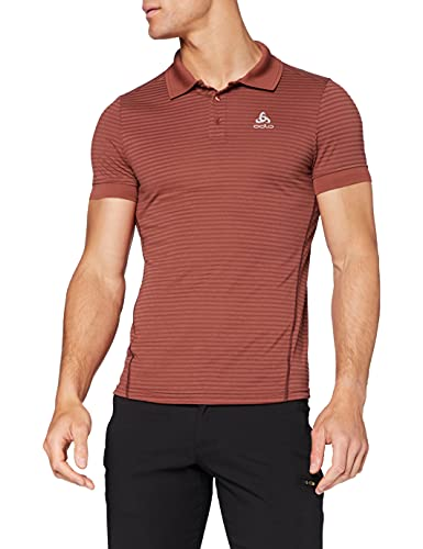 Odlo Polo s/s Nikko Dry Shirt Homme, Chili Oil-Red Stripes, FR : M (Taille Fabricant : M)