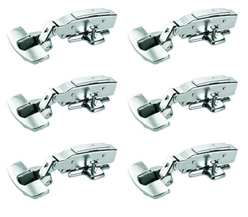 Hettich Sensys Topfscharnier (6 Stück, mit Dämpfung, Türscharnier für Türdicke 15 - 22 mm, Möbelscharnier, Automatikscharnier mit Aufklipstechnik) 9219541