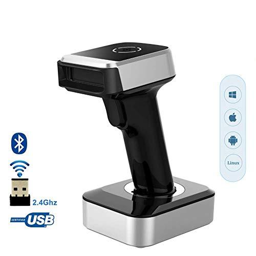 Aijin 1D 2D-Wireless-Barcode-Scanner, Datamatrix, QR-Code-Leser, 30-100m drahtlose Übertragung für Lager supermarkt