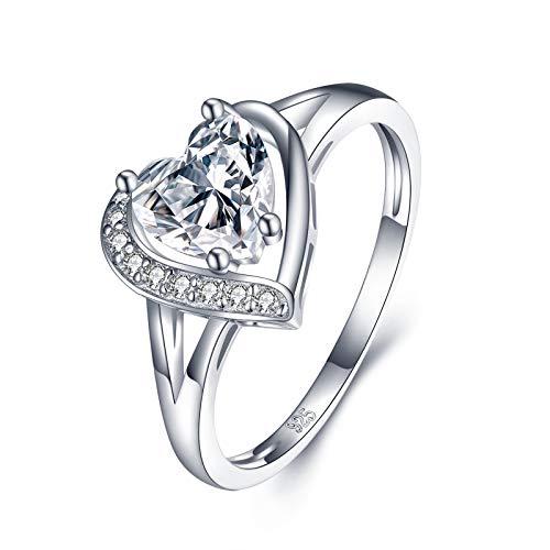 Beydodo Verlobungsring Damen Silber 925, Eheringe Vintage Herz mit Rund Zirkonia Hochzeit Ring Trauringe Silber Gr.57 (18.1)