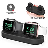 Delidigi Dual Charging Stand Dock Silicone Double Charger Stand Holder Compatible with Apple Watch Series SE/6/5/4/3/2/1(44/42/40/38mm), Supports Nightstand Mode(Black)