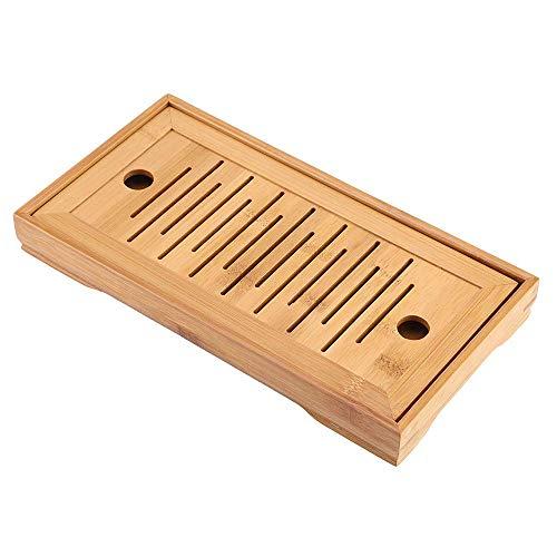 Bandeja para servir té, accesorios para bandejas de té Kongfu chino de bambú de primera calidad, mesa de servicio de té desmontable para decoración de regalos para la sala de estar, 9,8 x 5,5 pulgadas