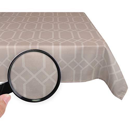 Valia Home Mantel de mesa, lavable, impermeable, repele la suciedad, efecto loto, fácil de limpiar, teflón tratado, rectangular, en diferentes tamaños y diseños, gris, 140 x 240 cm
