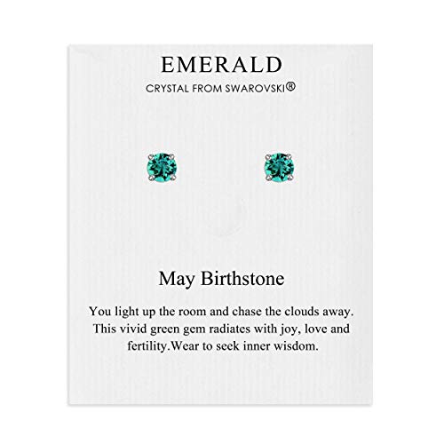 May (Emerald) Birthstone Earrings on Quote Card Created with Austrian Crystals
