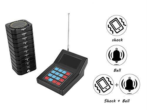 Bewinner Wireless Calling System Drahtloses Gästeruf- Kundenrufsystem Paging-System Restaurant Pagers 1 Sender + 10 Empfänger Praktisches Anrufsystem für Restaurant Cafeteria Schnellimbiss(EU)