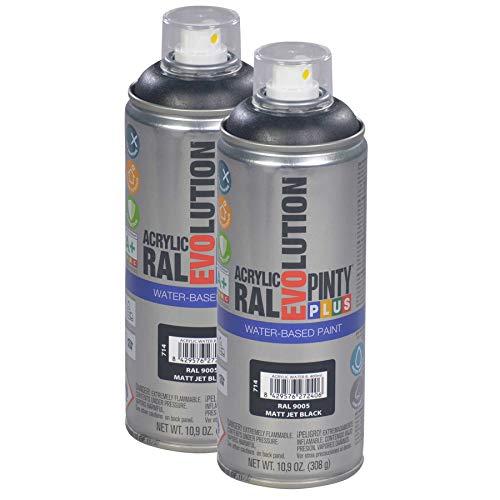 Pintyplus Evolution Water Based Spray Paint - 10.9 oz, Matt Jet Black. Environmentally Friendly, Acrylic, Low Voc, Low Odor, Matte Spray Paint. RAL 9005. Pack of 2