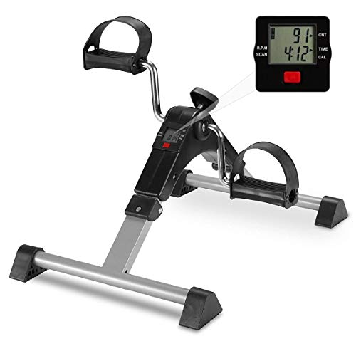 Folding Exercise Peddler Portable Fitness Pedal Under Desk Indoor Exercise Bike Stationary Mini Exercise Bike Leg Arm Trainer for Arms, Legs with Calorie Counter