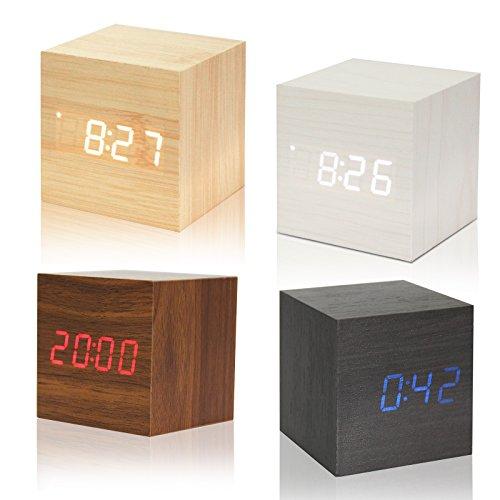 Sunjully Digitale led-wekker, van hout, modern design, met temperatuur- en datumdisplay, 12/24-uurs-formaat, alarm, spraakbesturing, voor slaapkamer, kantoor, kinderen, teens