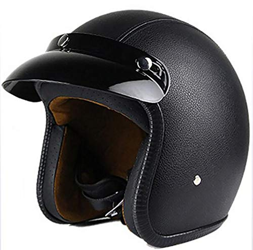 XTGFDC PU Leather Open zomer ademende motorhelm, dames en heren jethelm scooter helm ECE-goedgekeurd, zwart S-XXL (55-64Cm)