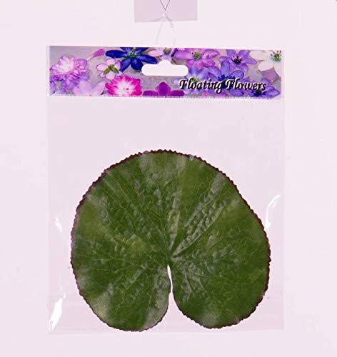 artplants.de Feuilles de nénuphar artificielles Ajay, 10 pièces, Flottant, Vert, Ø13cm - Feuillage Artificiel - Décoration étang