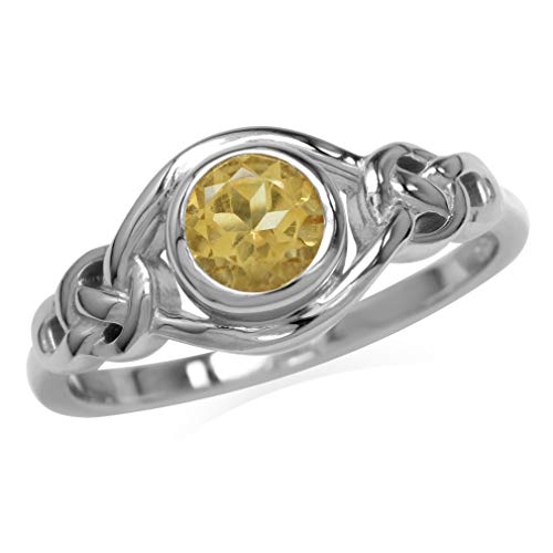 Silvershake Genuine Citrine White Gold Plated 925 Sterling Silver Celtic Knot Ring Size 11.5