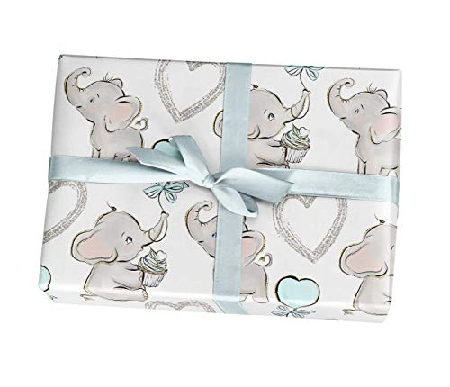 Blue Elephant Boy Baby Shower Wrapping Paper Gift Sheets - 15 FT