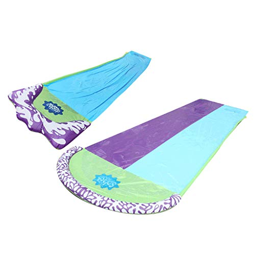 Perfeclan 2Pcs Lawn Water Slides With Sprinkler And Inflatable Crash Pad