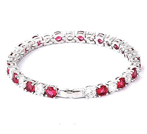 findout Bracciali partito signore di lusso cubi zirconi cristallo moda sposa. per le donne le ragazze, (1536) (rosso)