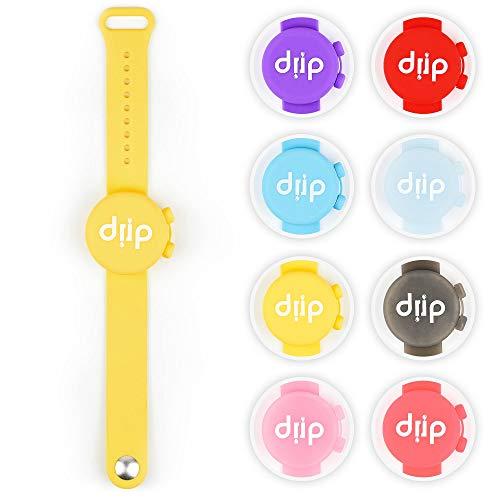 drip 2.0 Desinfektionsarmband für unterwegs inklusive Nachfüllbehälter - Tragbares Hygienearmband (Gelb)