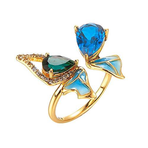 Anillo Abierto De Mujer,Moda Para Mujer Anillos Abiertos Ajustables Mar Profundo Mariposa Azul Gota De Agua Diseño De Incrustación De Circonio Plata Elegante Anillo De Compromiso Eternidad Joyerí