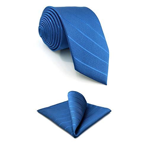 S&W SHLAX&WING Corbatas para hombre Corbata de color liso Corbata extra larga con flecos oscuros a rayas azul real con conjunto de pañuelo de bolsillo