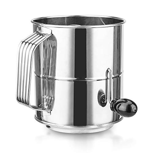Flour Sifter for Baking, ENLOY 8 Cup Stainless Steel Rotary Hand Crank Sifter with 16 Fine Mesh Screen for Powdered Sugar