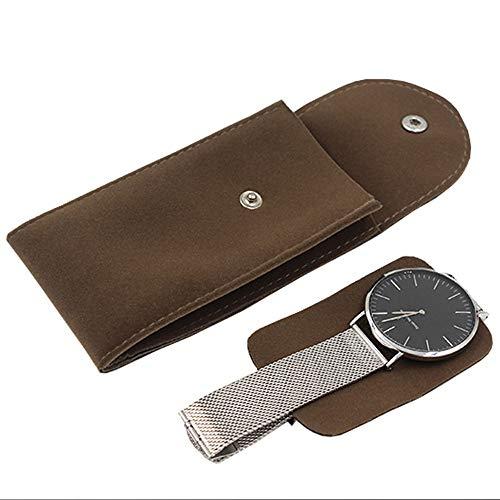 WMC Uhr-Aufbewahrungsbehälter, Qualitäts-Uhr-Schutz Soft Bag Flannelette Uhr Collect Boxen Fall Für Weihnachten Jahrestag Geburtstag,Braun