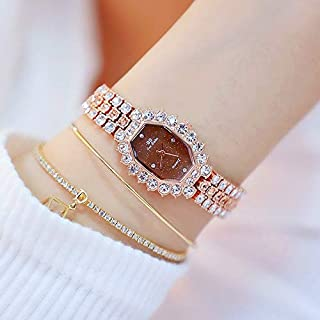 JIANGNIAU Watches FA1581 Women Octagonal Dial Diamond Plated Rhinestone Bracelet Quartz Watch(Silver Shell Blue Diamond) (Color : Rose Gold Coffee Diamond)