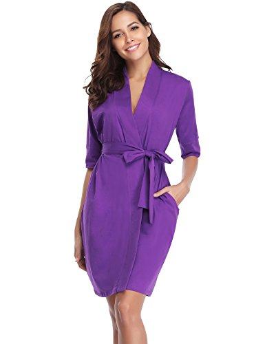 Aibrou Damen Bademantel Baumwolle Langer Morgenmantel Saunamantel Nachtwäsche Homewear V Ausschnitt mit Gürtel Violett XL
