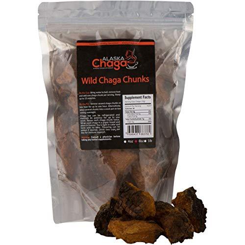 1 lb Alaska Chaga Mushroom Chunks - Organic, Wild-Harvested Antioxidant Mushroom Tea - Supports Immune System