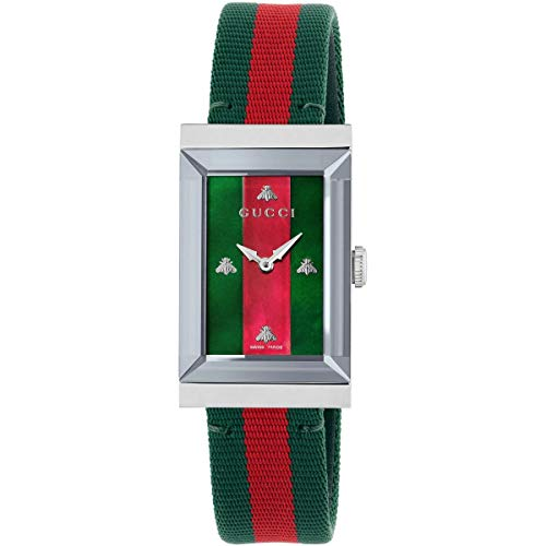 Reloj Gucci de Mujer g-Frame 21x34 mm de Acero Tela Verde Rojo YA147404