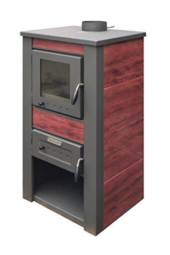 acerto 20075 ALPINA Kaminofen wasserführend, rot - 48x48x105 cm 13 kW für 80-100 qm Sichtfenster | Hochwertiger Schwedenofen für Holz, Briketts & Kohle | Moderner Holzofen für Kamin-Anschluss