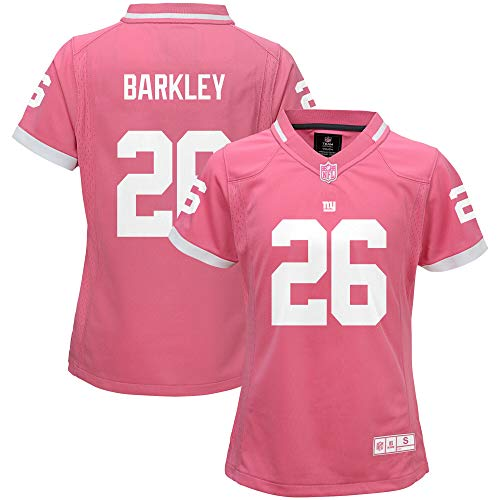 Saquon Barkley New York Giants NFL Girls Youth Bubble Gum Pink On-Field Player Jersey (Youth Large 14)