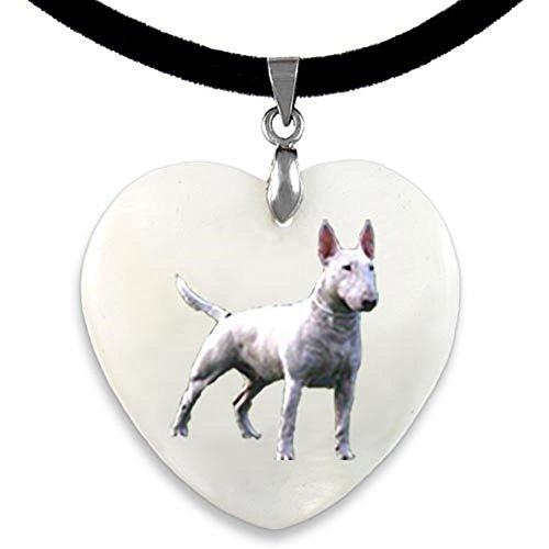 Timest - Bull Terrier inglese - Ciondolo a forma di Cuore, in Madreperla PP0278