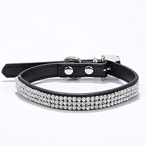 Collares para Perros con Diamantes de imitación Perros pequeños Bling Crystal Bow PU Cuero Collar para Mascotas Cachorro Gatos Collar Arnés para Perros Correa Accesorios para Perros, 20 Negro, M1